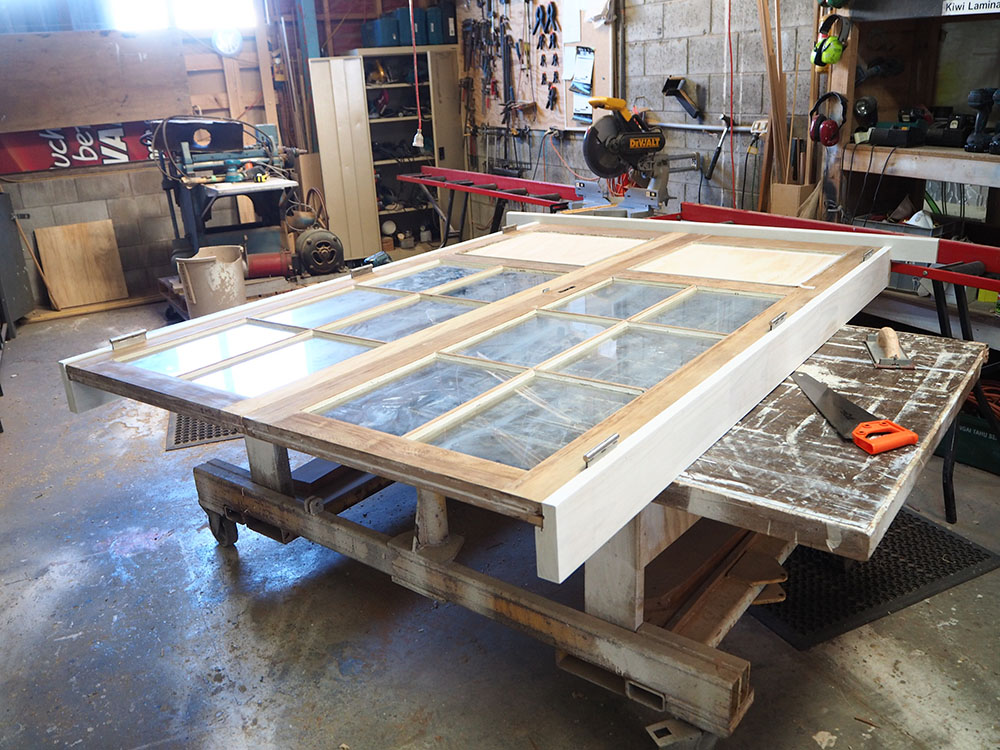 #321 Cedar French Door Restoration, French Door Restoration, Door Repairs, Joinery, Wellington, No. 8 Building Recyclers